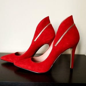 Enzo Angiolini Red Pumps w/Zipper Detail